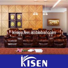 Modern home theater recliner danish leather sofa