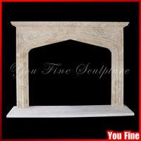 Antique Beige Marble English Tudor Gothic Fireplace Surrounds