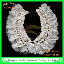 European trendy fashion handmade white cotton beaded lace collars for women SDML080