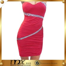 Claasic tube ladies red designer one piece party dress