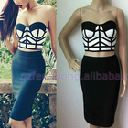 Best selling backless bandage dress fashion black bodycon evening dress