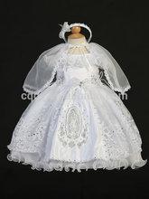 2014 Fomal White handmade smocked Christening Gown dress/Baptism Dresses for baby girl