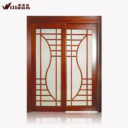 Solid wood frame Black wood door interior wooden glass sliding doors