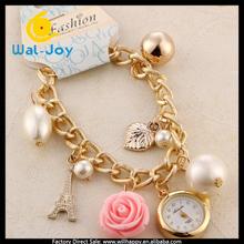 latest smart pearl and flowers design vogue ladies bracelet watch(WJ-2806)