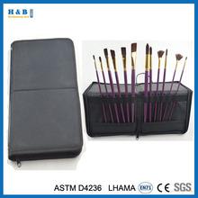 12 Piece Black Nylon Covered Brush Easel Holder Red Paint Brush Set