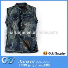 2014 New Arrive High Quality Best Selling Sleeveless Denim Jacket for Men