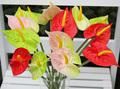 De alta calidad de plástico de un solo color rojo de palma, baratos al por mayor de flores artificiales de china