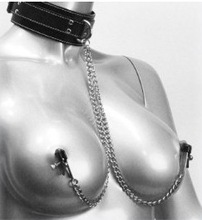 Leather Bondage Collar with Metal Sex Breast Clamp Fantasy Adult Toys