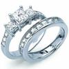 Princess Cut Cz Engagement Bridal Past Present Future Ring Set