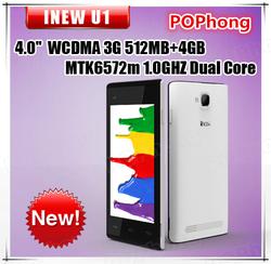 4 inch Cheap Phone MTK6572M Dual Core 3G Android Cell Phone Dual SIM Card Bluetooth iNEW U1