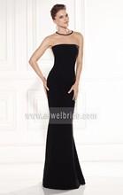 Appliqued beaded simple design back see through chiffon best long black evening dress