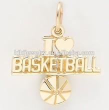Fashion Metal Gold I Love Basketball Sports Charms