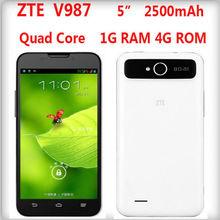 NEW! 5 inch ZTE V987 Android 4.1 Quad Core Phone MTK6589W 1.2GHz Dual SIM 3G 1.0+8.0MP GPS Bluetooth3.0 1G RAM 4G ROM 1280*720p