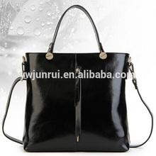Simple style women elegant smooth pu bags designer cross pattern women zipper tote bags