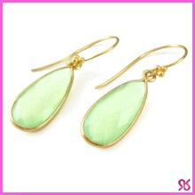 Sea Green Chalcedony Tear Drop Earrings
