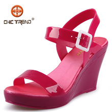 2015 Top Fashion Ladies High Heel Shoes Wedges Jelly Sandals wholesale