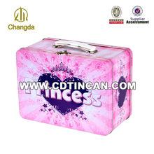 Big lunch tin box with plastic handle item CD - 014