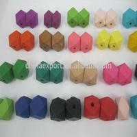 Wholesale Pastel Color Geometric Wood Bead