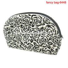 Custom Printed Rose cosmetic bag black cheap wholesale