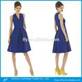 Um- linha acima- joelho comprimento deep v- pescoço cap- azul de manga chiffon zipper voltar simples vestido de baile
