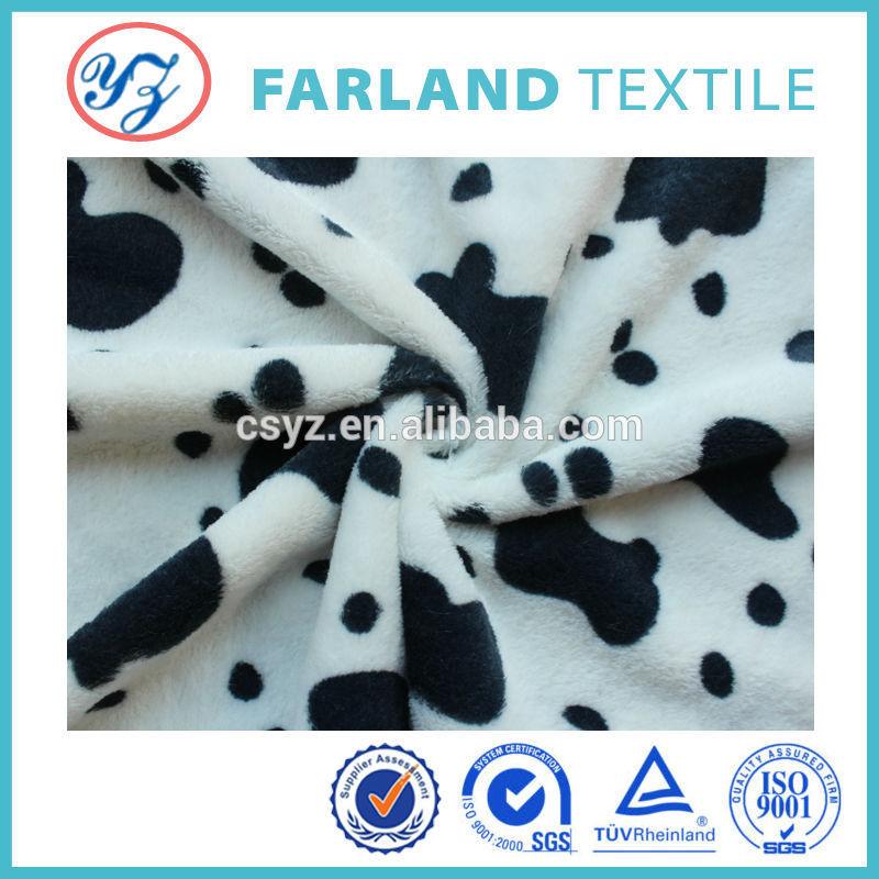 Cow Pattern Fabric Modern Design Plush Fabric Cow
