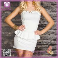 New Arrival Beautiful White Peplum Dress with Studded woman dress fashion 2014