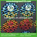 Anti- fake evidente manipulación segura de etiqueta de holograma etiqueta de sellos