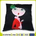 15- polegadas preto personagem dos desenhos animados cor de impressão digital de algodão de filamentos de poliéster almofada travesseiro carro travesseiro