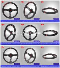 (rc-5130)Black Leather/Suede/PU steering wheel-350mm/14inch