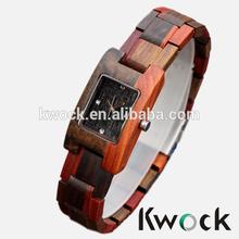 Lady Girls Bracelet Natural Red/Black Wood Handsmade Wooden Wristwatch