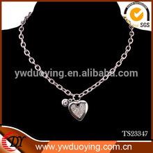 Fashion Shiny Link Heart Pendant Choker Necklace Chunky Chain Silver Jewelry