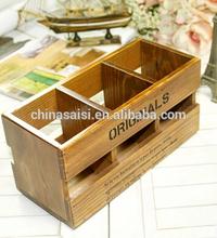three compartment wooden storage box, wooden pencil box, wooden remoter storage box