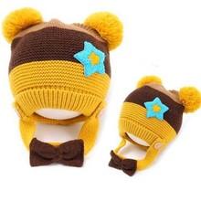 Tcw20003 Korean baby hats winter new knitting wool cartoon children's cap