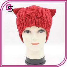 Cat Ear Knitted Animal Beanie Hat for Women