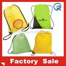 cheap reusable smooth material drawstring bag/ custom polyester tote bag /custom recycle bag
