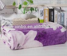 Super soft purple lily print coral fleece blanket