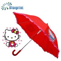 Cute Lovely Frill Design Kitten Print Auto Children Umbrella