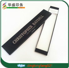 Custom luxury glossy black with silver hot stamping foil logo hair extension box