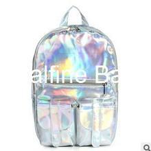 New 2014 Promotion Silver Hologram Laser Backpack men Bag leather bag Multicolor Silver Business Zipper Backpack women