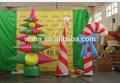 2014 venta caliente promoción de publicidad de color rojo y blanco giganteinflable bastones de caramelo