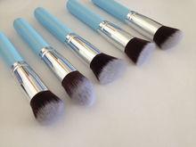 soft synthetic hair makeup brush,blue 5pcs facial kabuki brushes sets