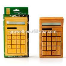 12 digits desktop nature bamboo wooden solar calculators