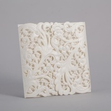 Greeting Card, Everday Card, Wedding Invitation Card, Gate Fold with Laser Cut and Embossed Flaps PK839_WH