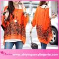 ใหม่ลำลองขายส่งโบฮีเมียนชุดชีฟองพิมพ์ดอกไม้สีส้มรูปแบบเสื้อสำหรับชุด