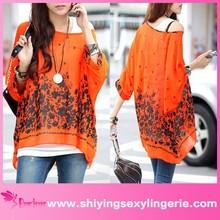 New atacado Casual laranja imprimir flor Bohemian Chiffon modelo blusa para uniforme