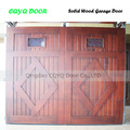 Baratos madeira da porta da garagem boa qualidade/elegante sólidos de madeira da porta da garagem melhor qualidade em china/madeira maciça portas seccionais