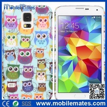 Colorized Owl Pattern Rubber Coated PC Case For Samsung Galaxy S5 i9600 G900