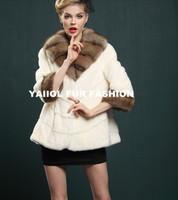 fashionable short white mink fur coat with big sable fur collar