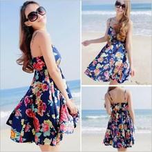 2015 new style ladies sexy one piece dressses sleeveless gallus fashion woman floral print dress
