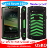 Wholesale MTK6572 dual core android 4.2 IP68 rugged waterproof cell phone with walkie talkie